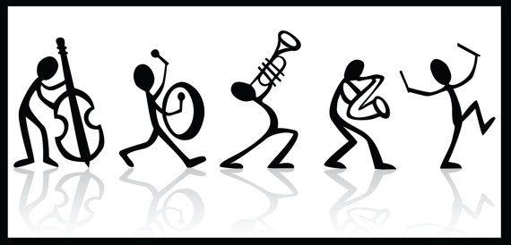 musical stick figure band black and white poster on. Black Bedroom Furniture Sets. Home Design Ideas