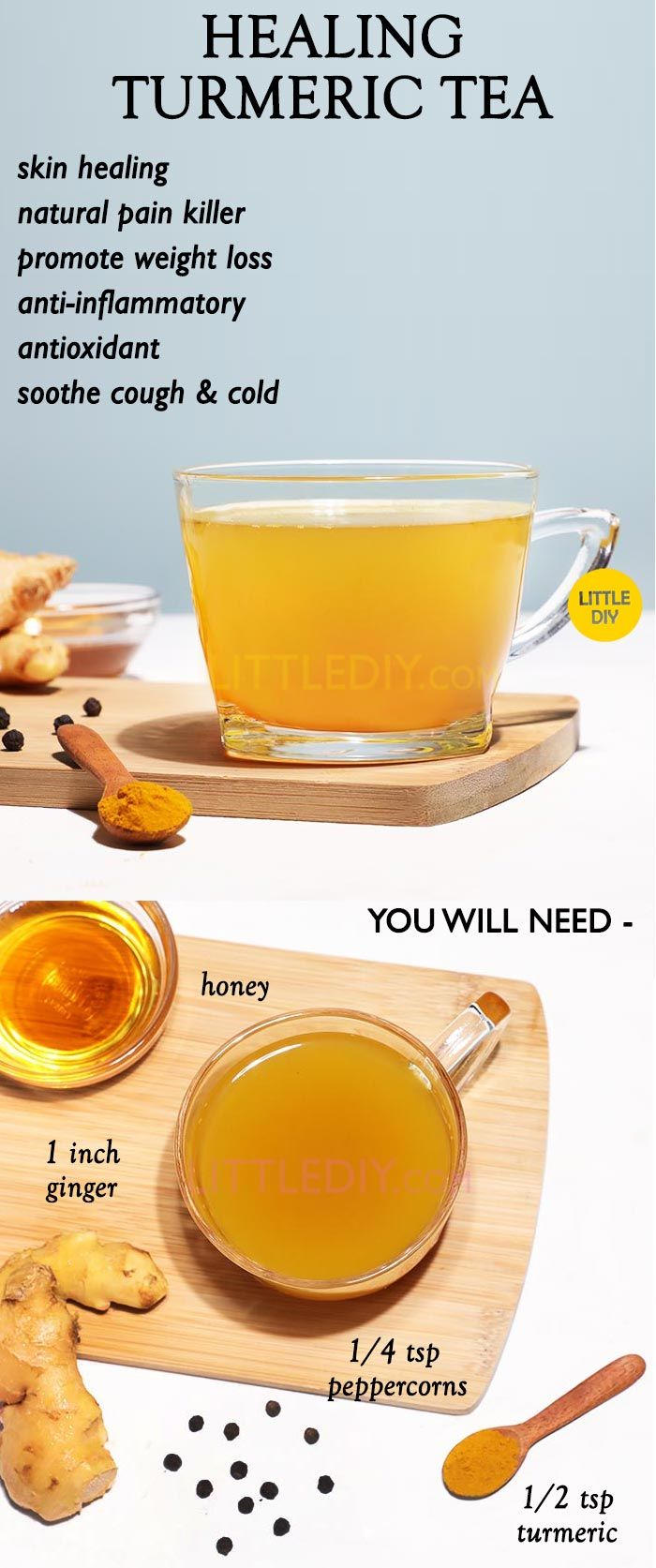 Healing Turmeric Tea Recipe and Benefits - LITTLE DIY #antiinflamatoryrecipes