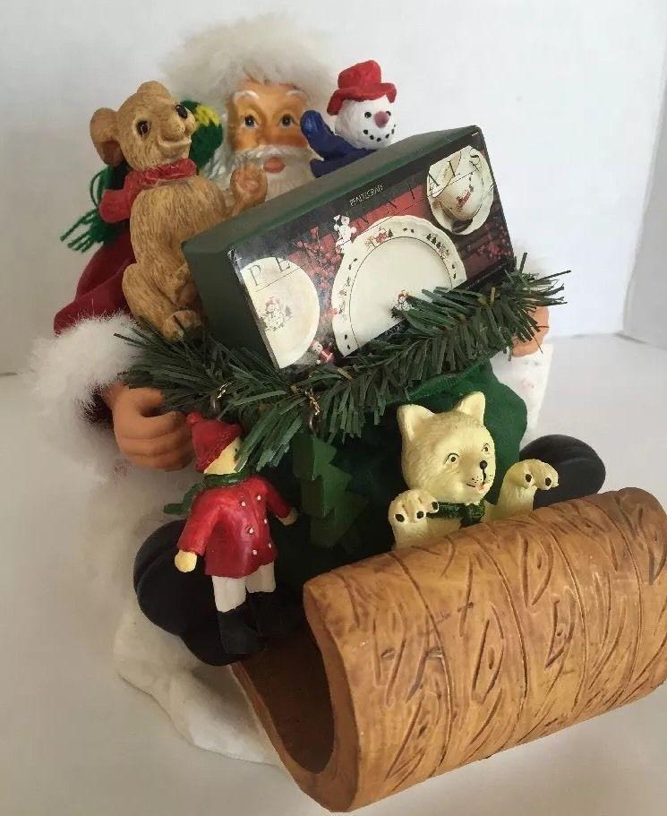 Santa Claus Pfaltzgraff 1996 Vintage Collectible Christmas Figure Cat Dog Sleigh #ThePfaltzgraffCompany