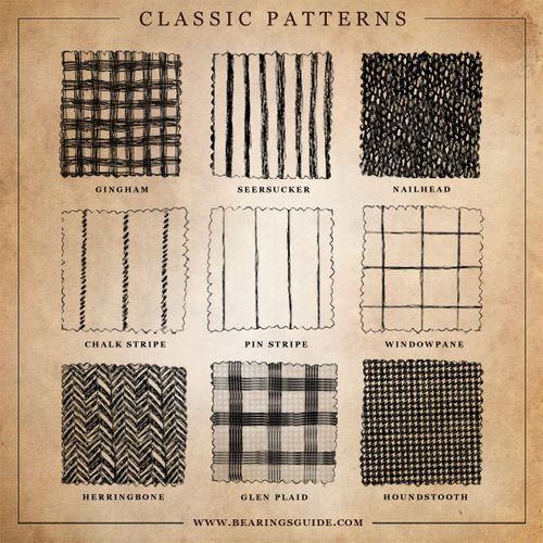 Classic Patterns - gingham, seersucker, nailhead, chalk stripe, pin stripe, windowpane, herringbone, glen plaid (AKA Glenurquhart check or Prince of Wales check), hounds tooth