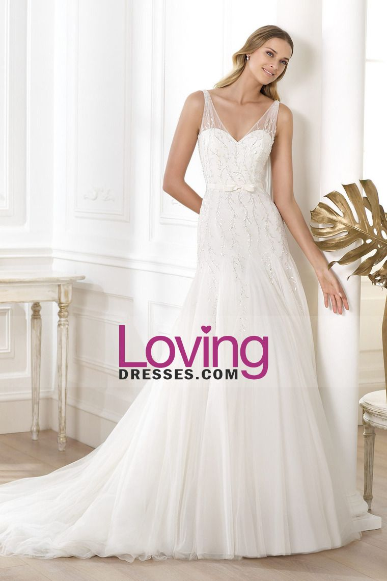 Wedding dress with straps  Romantic Wedding Dresses Straps Beaded Bodice A Line Sweep Train