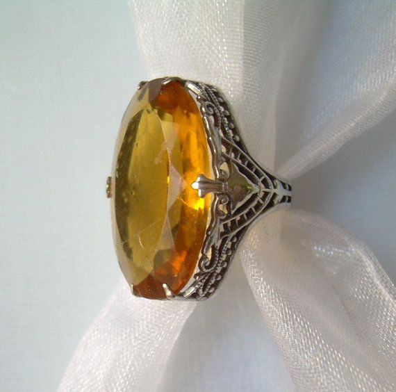 HUGE Ornate Yellow Orange Citrine Ring Size by CougarCoveFineGifts