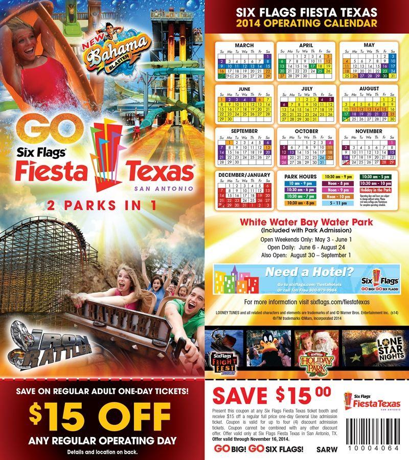 Six Flags Fiesta Texas 15 Off Coupon Printable Coupons Sample Coupons Coupons