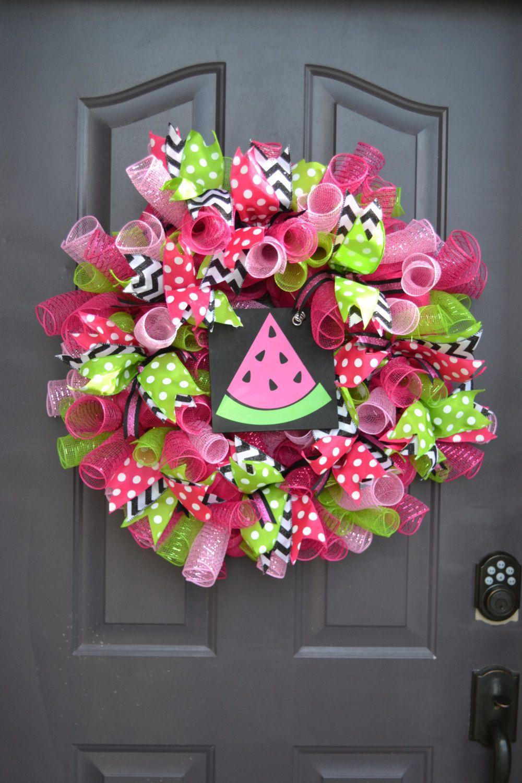 Watermelon Mesh Ribbon Wreath (70.00 USD) by