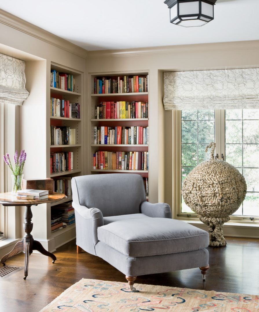 In The Library A Cozy Corner With Built In Bookcases A
