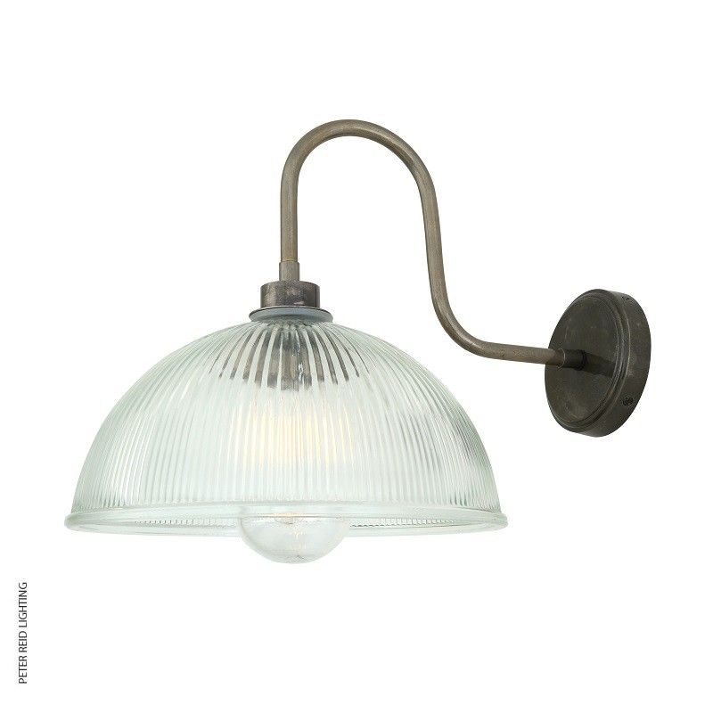 Our retro prismatic maris swan neck wall light by mullan lighting is suitable for both indoor and outdoor use this holophane wall light looks great when