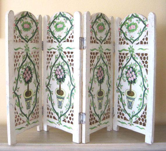 Amazing Indian Wood Carved Mini Screen, Boho, Hand Painted, Folding 4 Panel Divider, Bohemian Decor, Home Decor, Boho Shabby Chic White