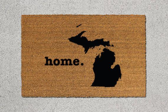 Michigan State Silhouette Door Mat - hand-decorated one-of-a-kind door mat & SZ Medium/OCEAN Michigan Doormat Michigan Door Mat Michigan by ...