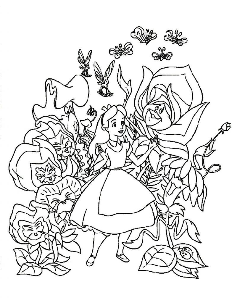 Free Printable Alice In Wonderland Coloring Pages For Kids Alice In Wonderland Flowers Disney Coloring Pages Cartoon Coloring Pages