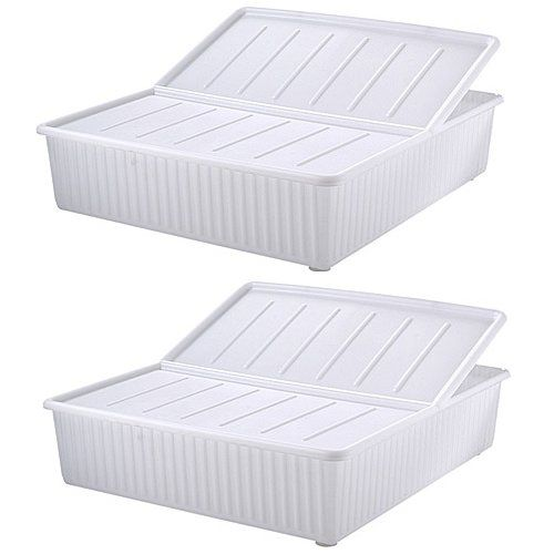 Set Of 2 80 Litre Deluxe Plastic Underbed Storage Bo With Lid