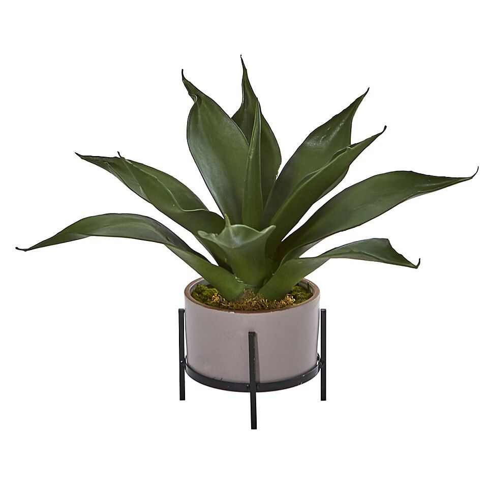 Nearly Natural 19 Agave In Stucco Textured Planter And Stand Multi Decorative Planters Planters Bedroom Plants