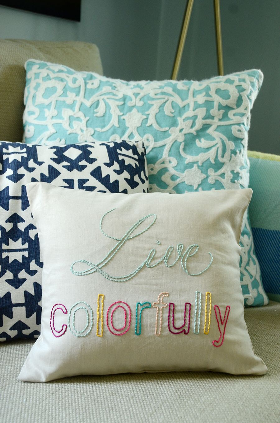 DIY Embroidered Pillow With Your Favorite Quote