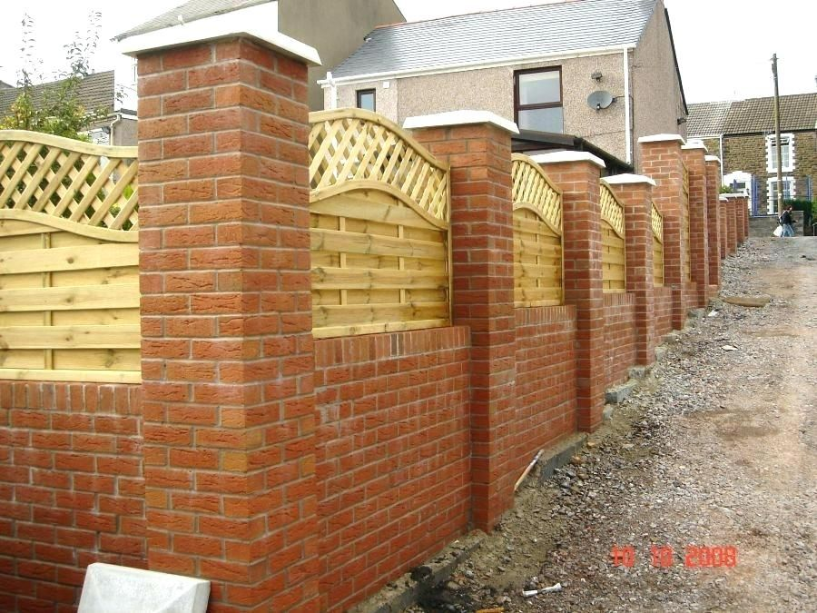 Brick Wall Fence Garden Bricks Walls Garden Wall With Brick Pillars And Decorative Wooden Fencing Types Bri Brick Wall Gardens Brick Garden Garden Fence Panels
