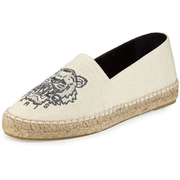 Kenzo Tiger Linen Espadrille Flat (£95) ❤ liked on Polyvore featuring shoes, flats, woven slip on shoes, round toe flats, embroidered flats, flat shoes and cream shoes
