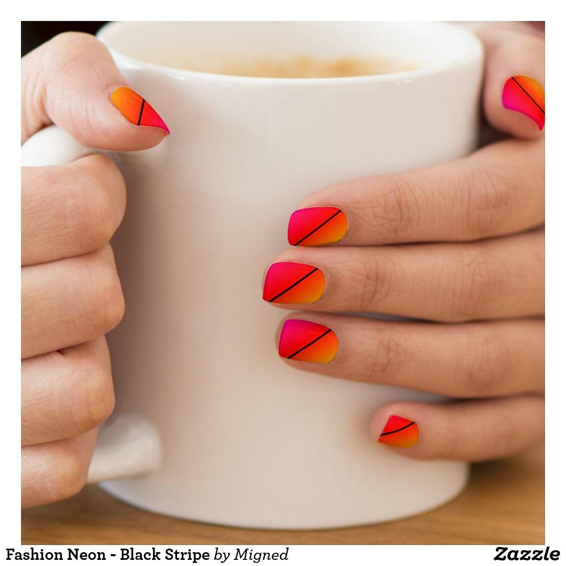 Fashion Neon - Black Stripe Minx Nail Art | Zazzle.com