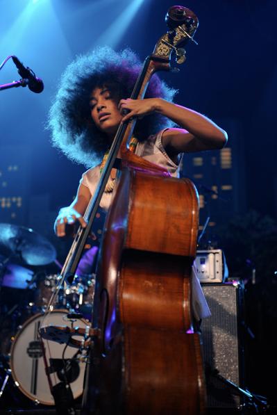 Esperanza Spalding and a string bass - curls - natural