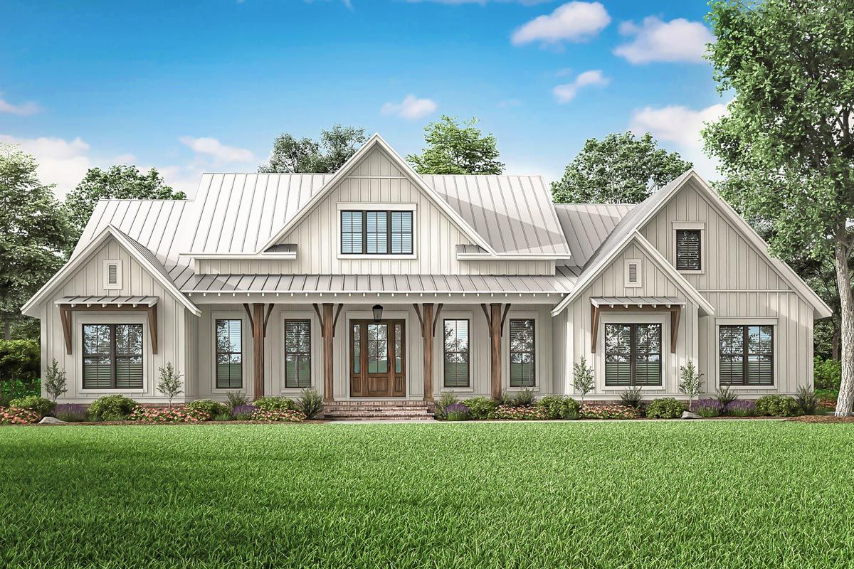 Expanded 3-Bed Modern Farmhouse with Optional Bonus Room - 51814HZ | Architectural Designs - House