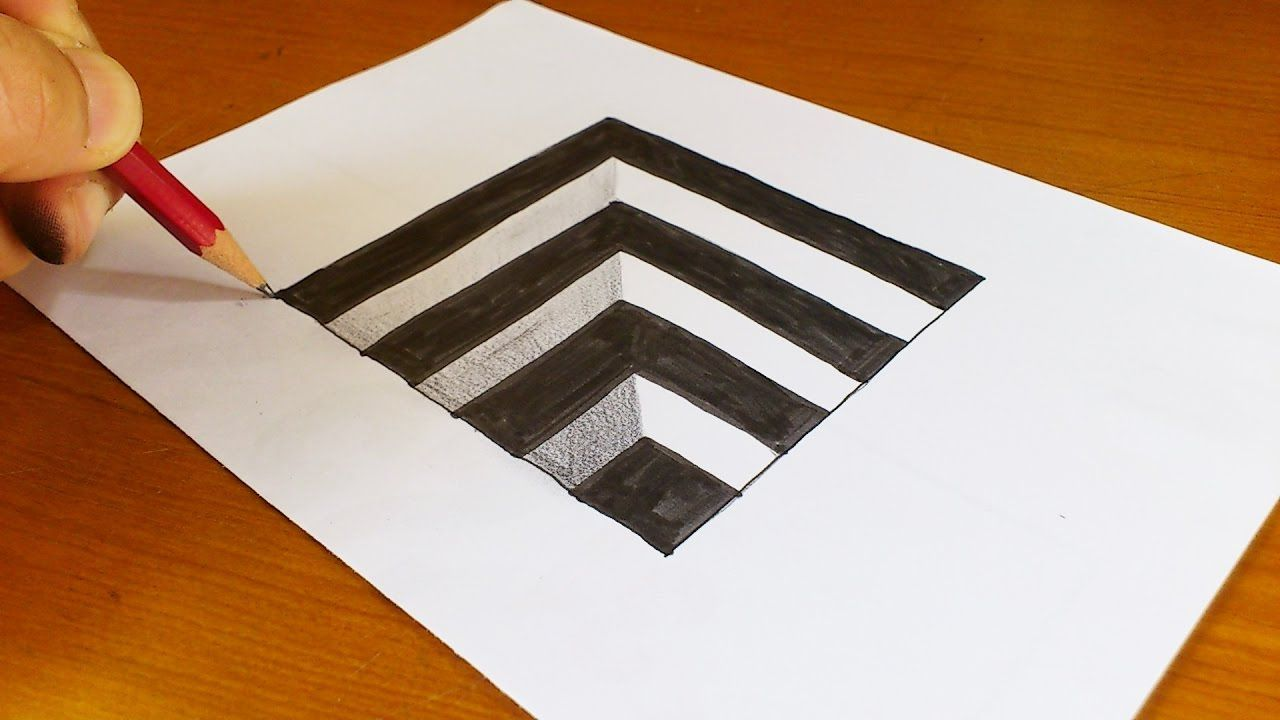 How to draw 3d drawings on paper step by step easy very easy how to draw 3d hole for kids anamorphic illusion