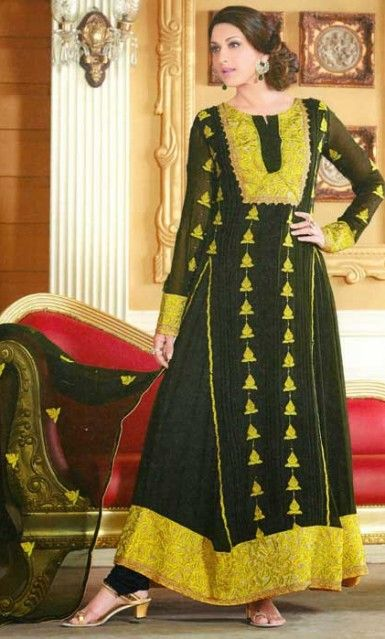 64a4638cc5 Buy Online Black Anarkali Churidar Kameez Set. Marvellous Designer Wear  offers Designer Salwar Kameez at discount Rate.
