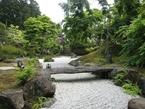 japan-garten gestaltung kirschbaum-kies stein-anlegen tipps, Garten Ideen