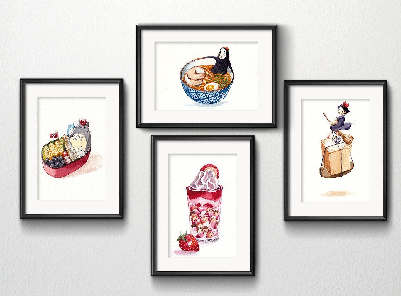 Set of 4 Studio Ghibli Watercolor Kitchen Art 5x7 prints | Kitchen ...