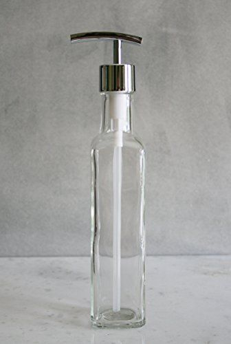 French Vessel Glass Soap Dispenser With Metal Pump Tall Soap