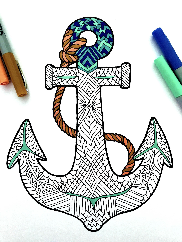 Anchor Pdf Zentangle Coloring Page Zentangle Desenler Doodle