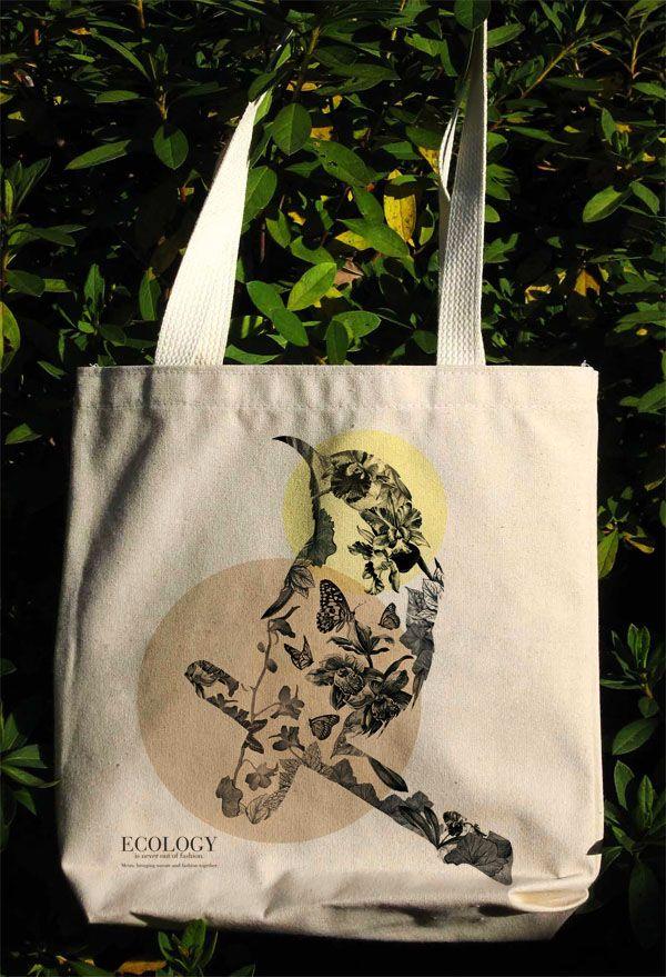 Ecology, Bird, Flowers, Pencil drawing, Go Green, illustration