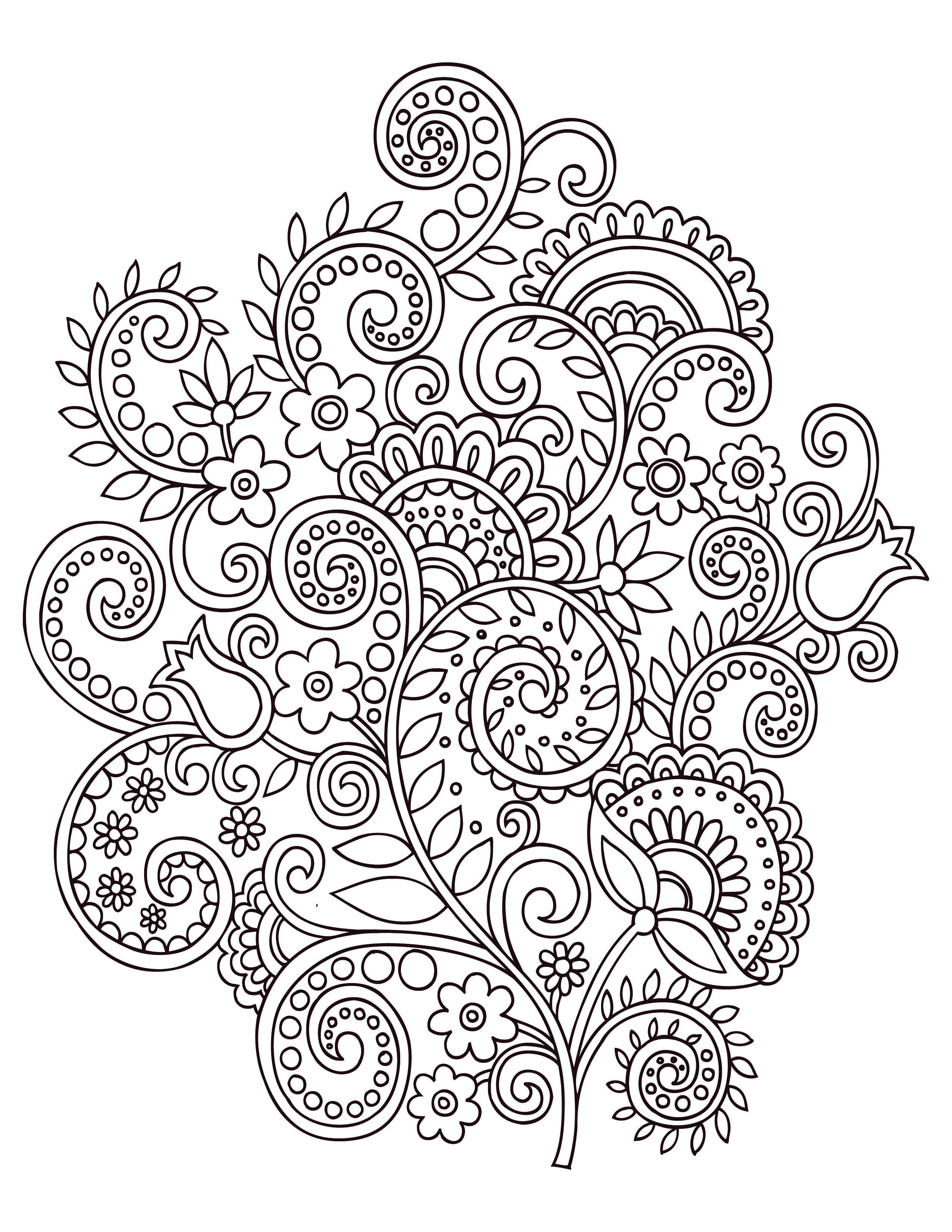fleurs doodle coloriage anti stress gratuit artherapieca - Dessins Anti Stress