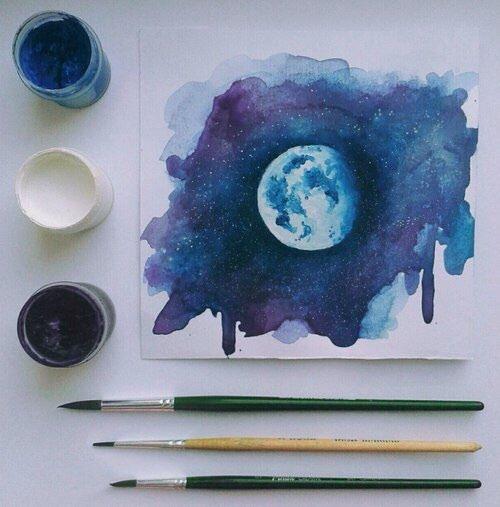 Immagine di art, moon, and blue