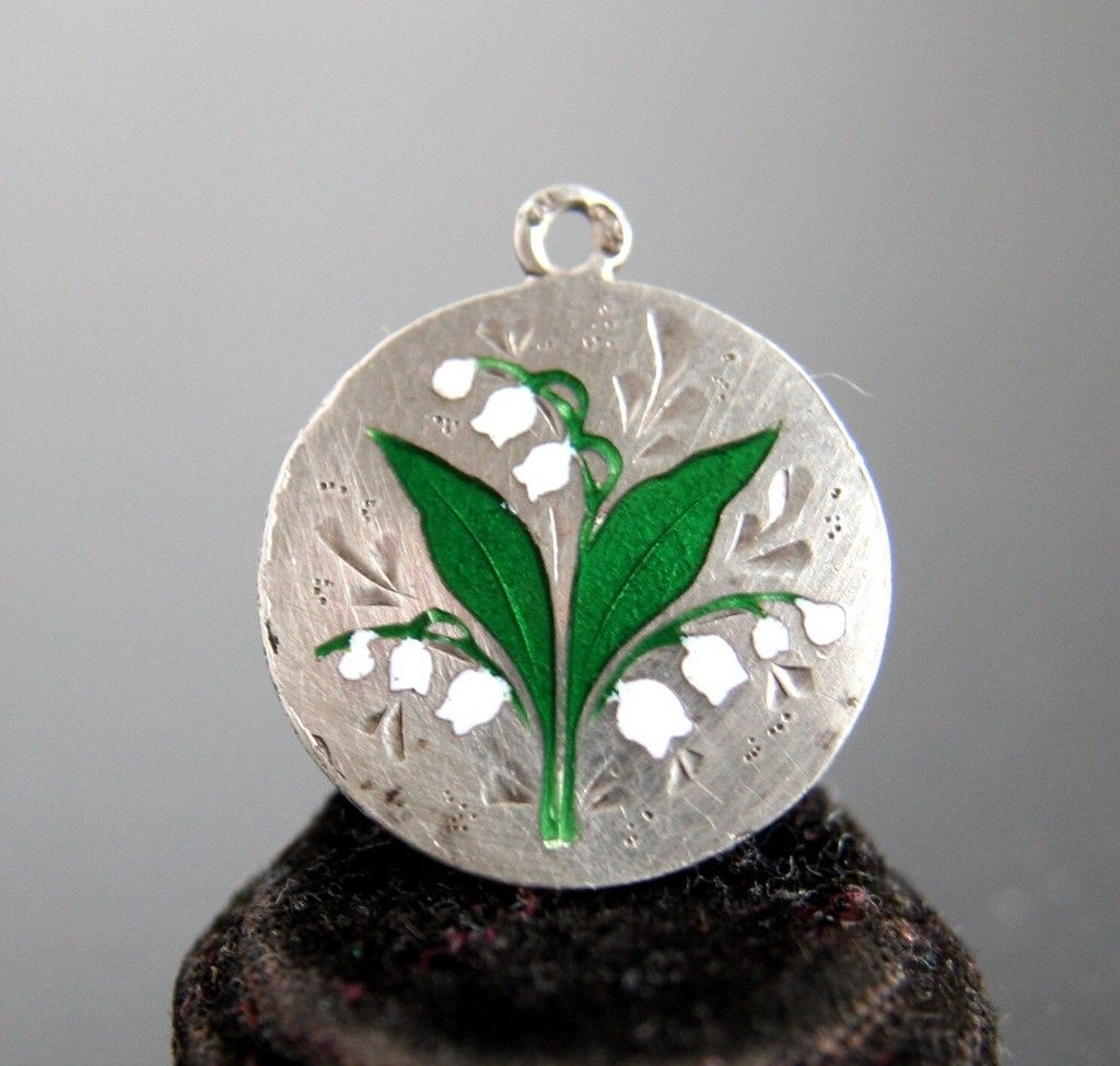 Victorian Enamel Lily Of The Valley Charm.