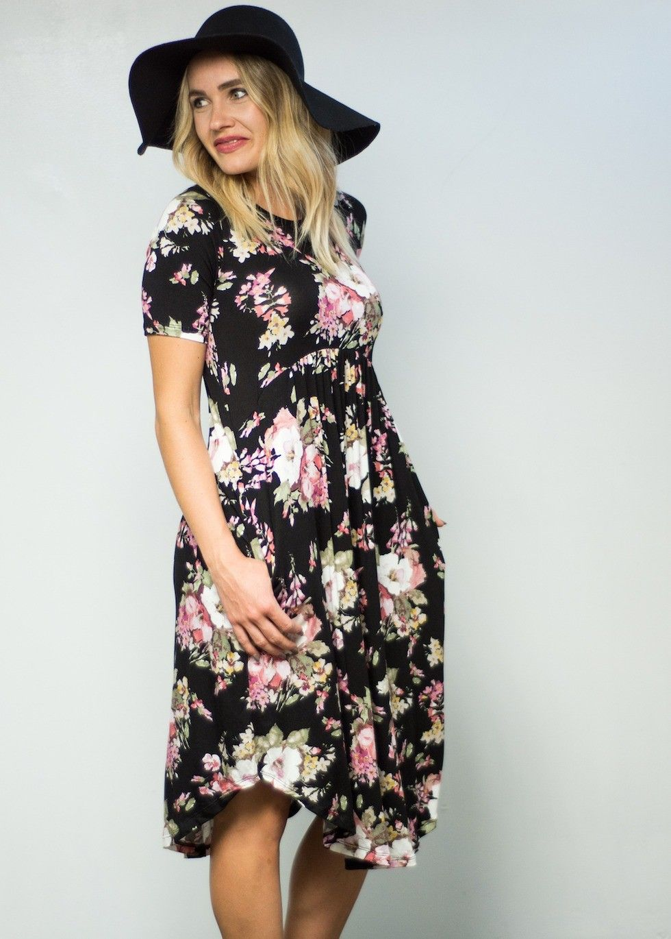 The black with mauve floral dress is a great everyday dress the