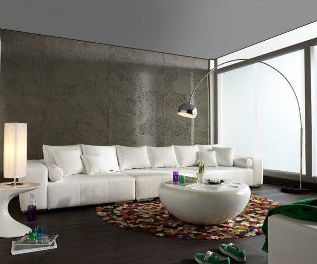 Idée peinture salon couleurs neutres dans les intérieurs idée peinture salon salon canapé et tapis rond