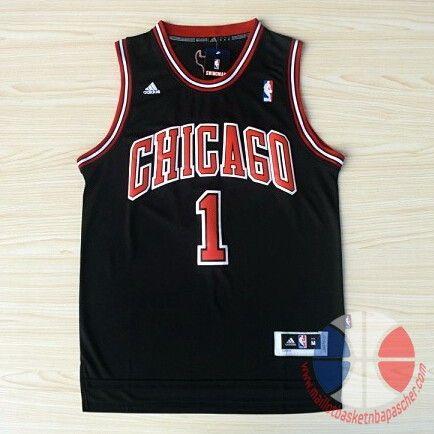 best service 42cb8 a119d maillot basket nba Chicago Bulls Rose #1 Noir nouveaux tissu ...
