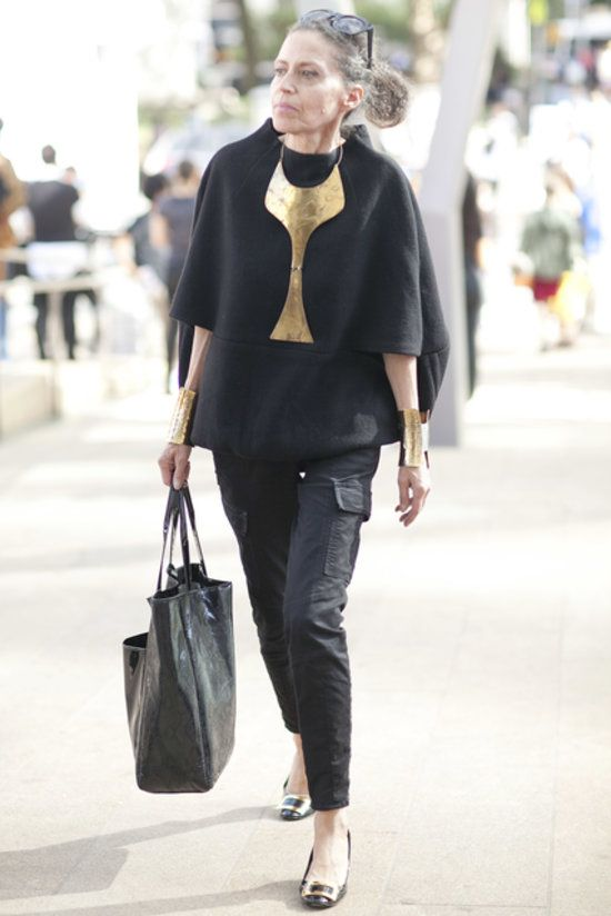 Check out the statement jewels on this all-black look. #nyfw