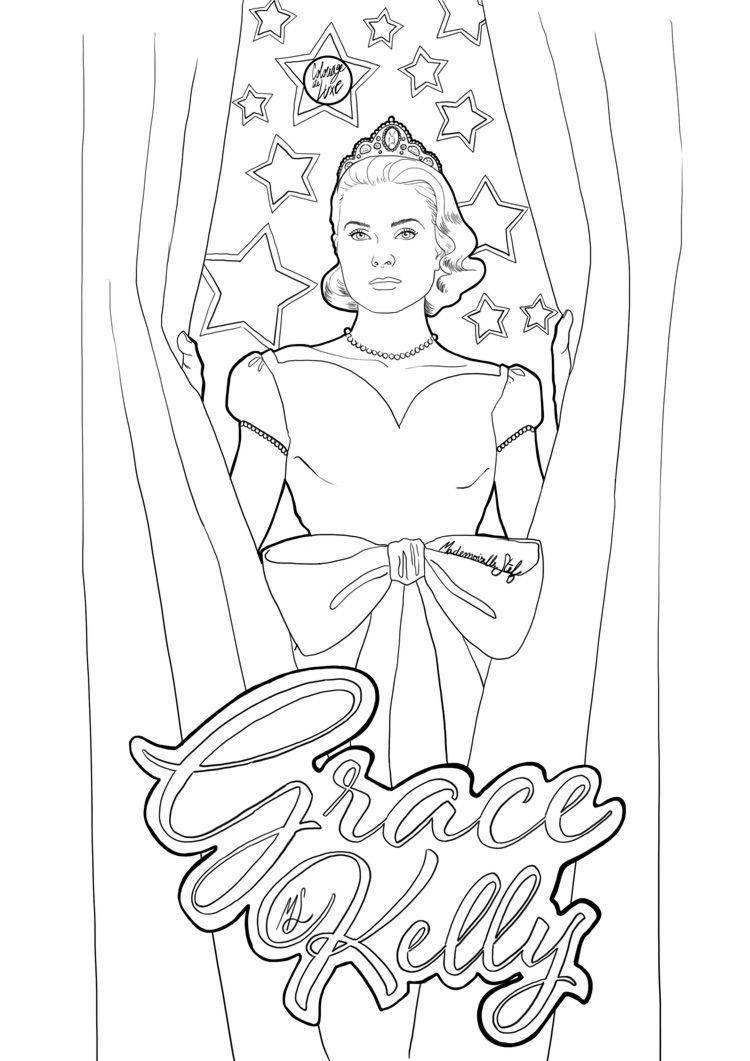 Coloriage : Grace Kelly | Famosos, Bellisima y Pinturas
