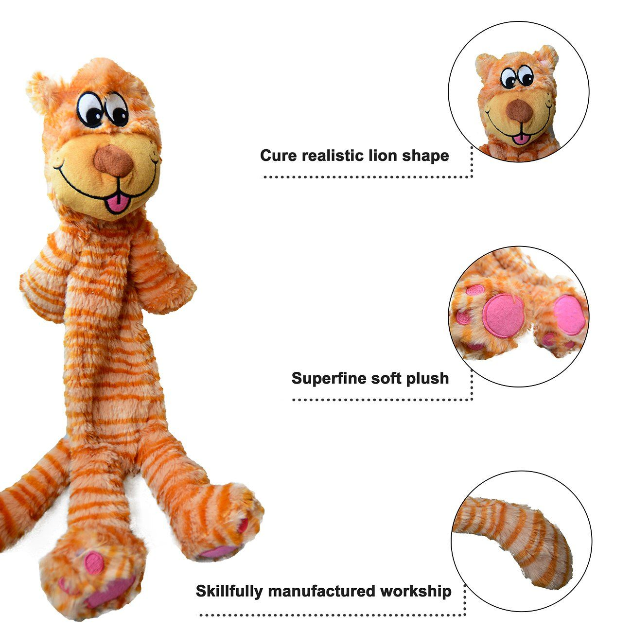 Loobani Plush Dog Squeaky Toys Chewer 22 No Stuffing Durable For