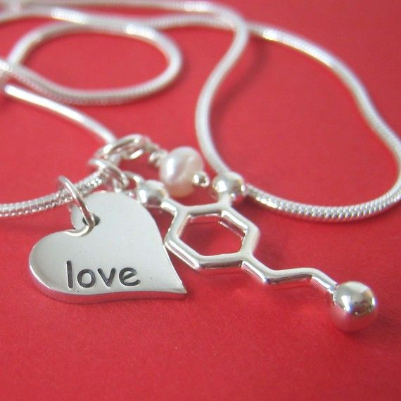 dopamine love heart pearl necklace for Valentines Day