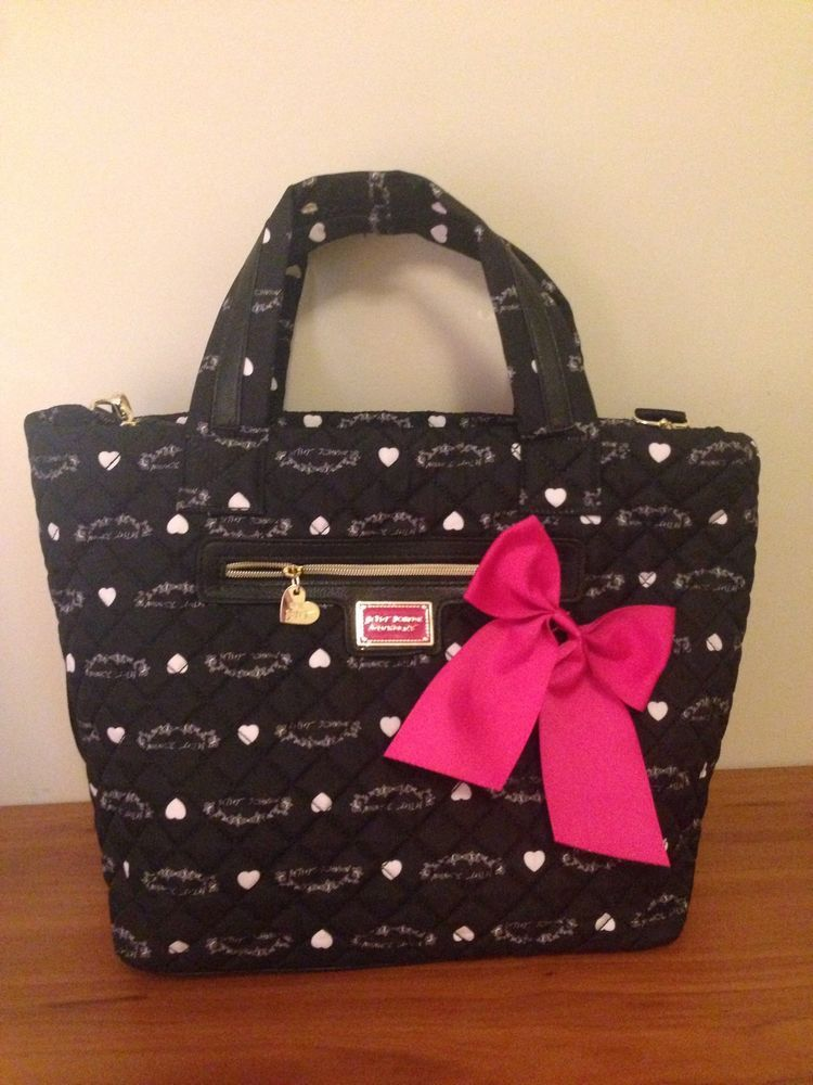 Betsey Johnson Tote Bag Quilted Nylon Black Brand-New With Tags #BetseyJohnson #TotesShoppers