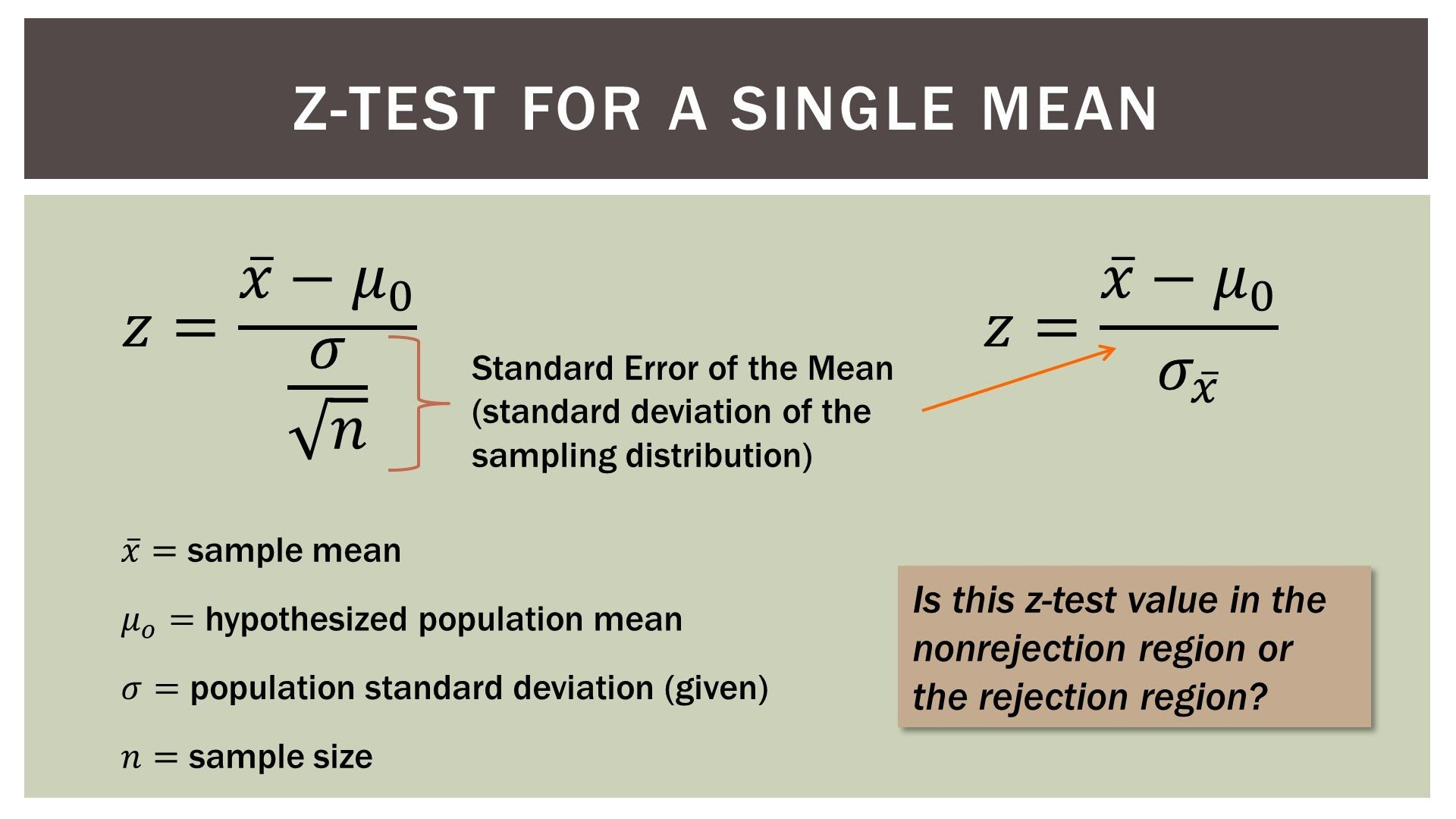 Statistics 101 Single Sample Hypothesis Z Test