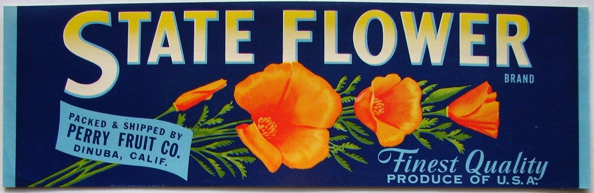 State flower vintage dinuba fruit crate label with images