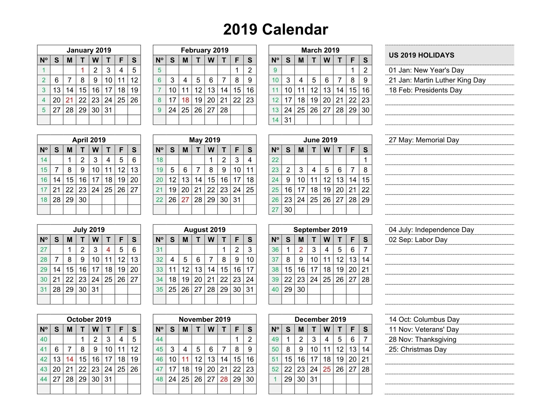 Free Yearly 2019 Calendar Printable Templates Editable 2019