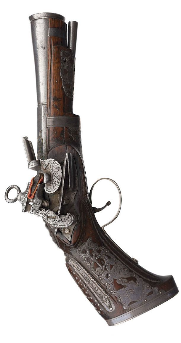 """Silver mounted Spanish miquelet blunderbuss pistol, marked """"Sanchez"""" and dated 1740."""