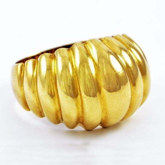Domed Gold Shrimp Ring Perrys Fine Antique Estate Jewelry