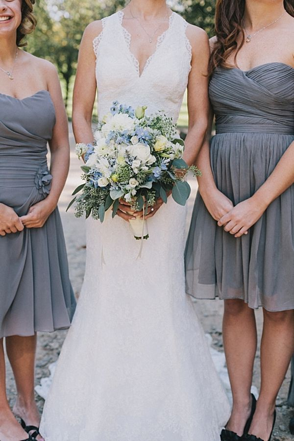 Blue And White Rustic Elegant Bouquet Gray Bridesmaids Dresses