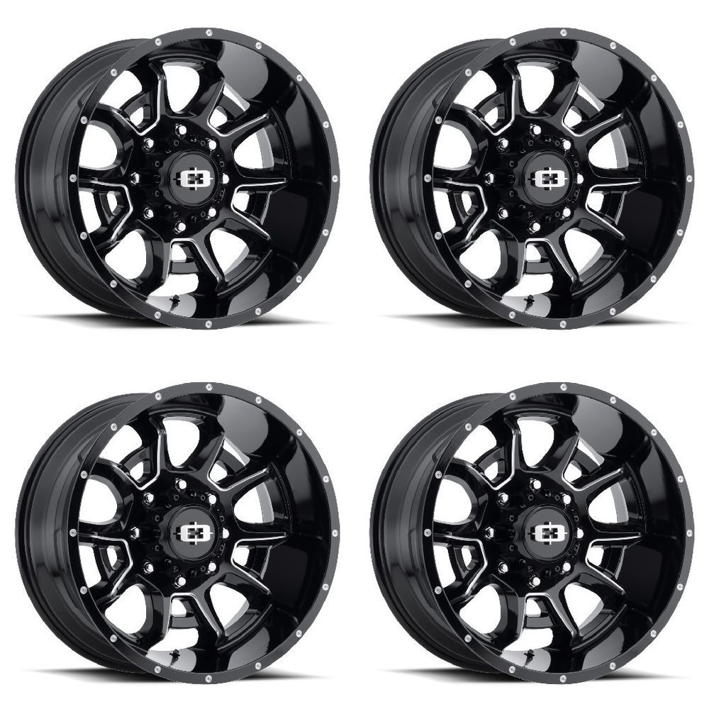Set 4 20 Vision 415 Bomb Black Milled Wheels 20x12 8x170 51mm Ford F350 8 Lug Visionoffroad Black Wheels F350 Lifted Ford