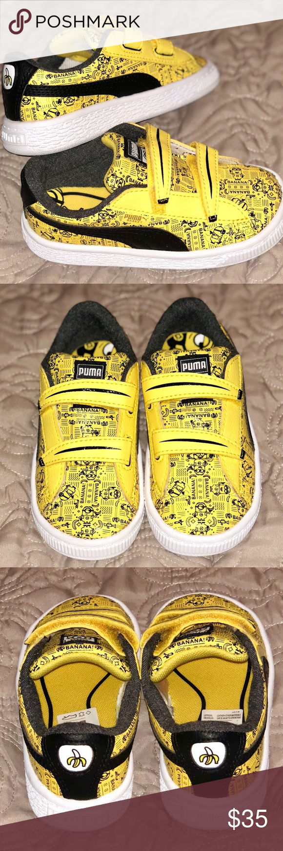 Puma Minions Basket V Kids Sneakers Puma Kids Minion yellow - Puma black  Never been worn. Does not come with tags or original box. c3415e575