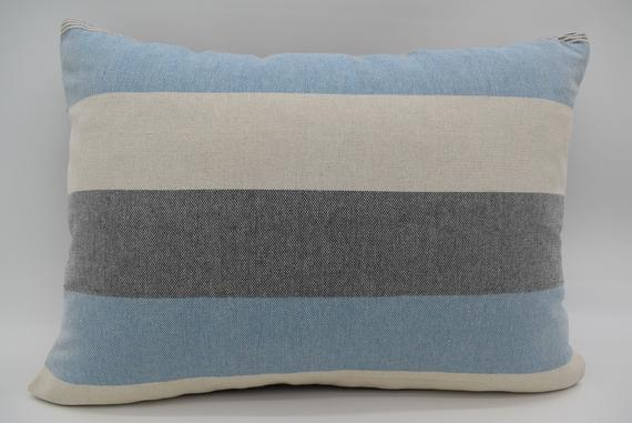 20x28 Cushion Cover Washable Pillow Striped Throw Pillows Soft Natural Bl