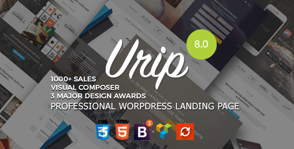 Urip V815 Professional Wordpress Landing Page Blogger Template