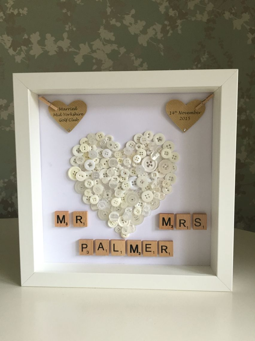 Wedding Gift Personalised Button Art Diy Wedding Gifts Handmade Wedding Gifts Diy Wedding Presents